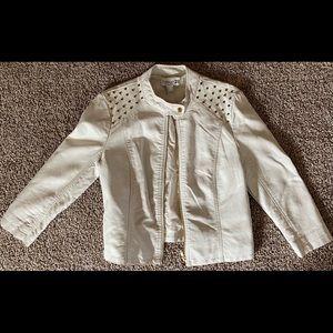 White gold studded leather jacket